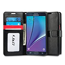 Galaxy Note 5 Case, J&D [Stand View] Samsung Galaxy Note 5 Wallet Case [Slim Fit] [Stand Feature] Premium Protective Case Wallet Leather Case for Samsung Galaxy Note 5 (Black/Red)
