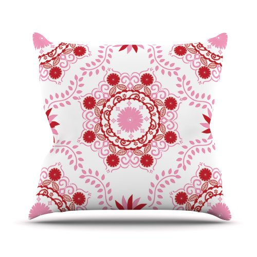 Kess InHouse Anneline Sophia Let's Dance Red Pink Floral Outdoor Throw Pillow, 20 by 20-Inch by Kess InHouse