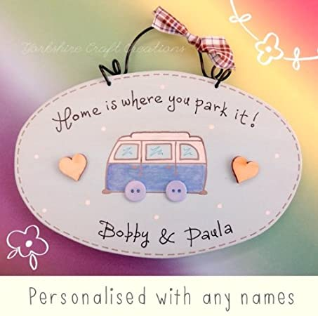 Yorkshire Craft Creations Blue Personalised CAMPER VAN Volkswagen Camper Inspired Plaque Sign Picture home is where you park it