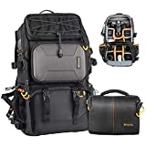 TARION Pro PB-01 Camera Bag Backpack with Shoulder Camera Case Bag 15.6' Laptop Compartment Rain Cover Waterproof Large Camera Hiking Backpack DSLR Bag