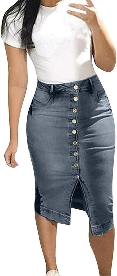 Moda para Mujer Falda Vaquera Diseño De Botones Verano Faldas ...