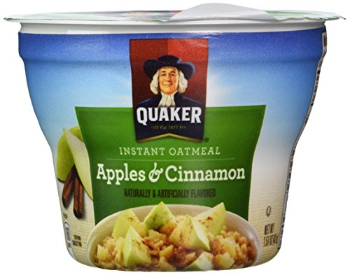 Quaker Instant Oatmeal Apples & Cinnamon 1.51-ounce Cups (Pack of 24)