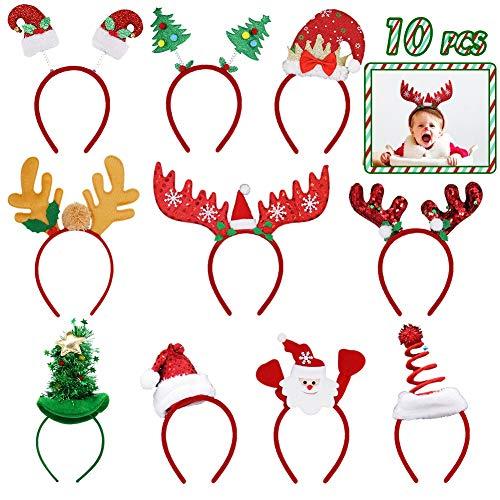 Kids Reindeer Antlers (ATDAWN 10 Pack Christmas Headbands, Reindeer Antler Santa Hat Headbands for Christmas Holiday)