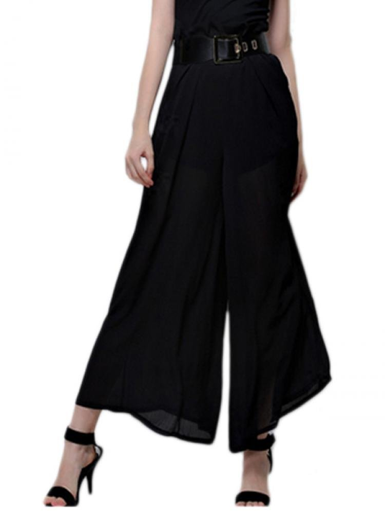 Enlishop Women's Black Chiffon Pleated Elastic Waist Wide Leg Palazzo Pants