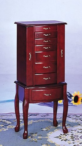 (Queen Anne Style Cherry Finish Jewelry Armoire w/Many Storage Space)