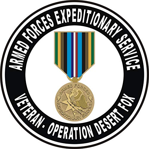 Military Vet Shop Armed Forces Expeditionary Medal Operation Desert Fox Window Car Bumper Sticker Vinyl Decal 3.8