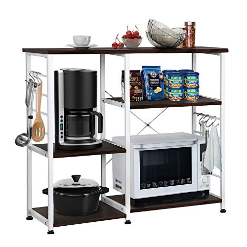 Yaheetech 35.5'' 3-Tier+3-Tier Kitchen Baker's Rack Utility Microwave Oven Workstation Shelf Standing Spice Storage Cart Black Brown ()