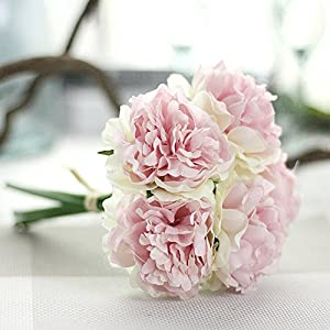 Gotian Artificial Silk Fake Flowers Peony Floral Wedding Bouquet Bridal Hydrangea Decor Wedding Party Home Decor 30