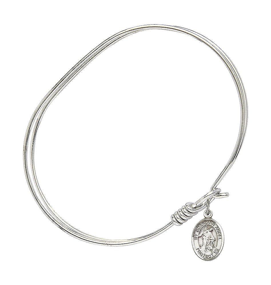7 inch Oval Eye Hook Bangle Bracelet with a Guardian Angel w//Child charm.