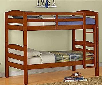 Mainstays Twin Over Wood Bunk Bed Walnut