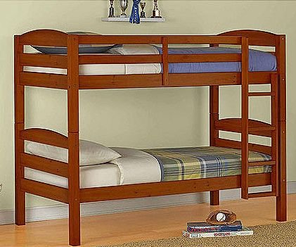 Mainstays Twin Over Twin Wood Bunk Bed, Walnut
