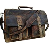Retro Buffalo Hunter Leather Laptop Messenger Bag Office Briefcase College Bag by Urban Hide (18'')