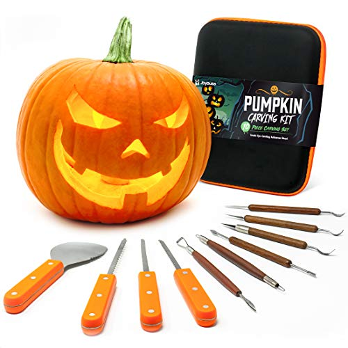 Joyousa Pumpkin Carving Tools Kit - 10 Piece Heavy Duty Stainless Steel Jack-O-Lantern Halloween Set