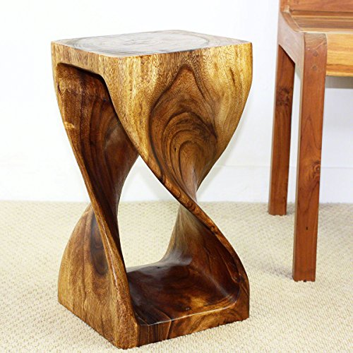 Haussmann Twist Stool 10 in SQ x 18 in H Walnut Oil (Maple Wood End Table)