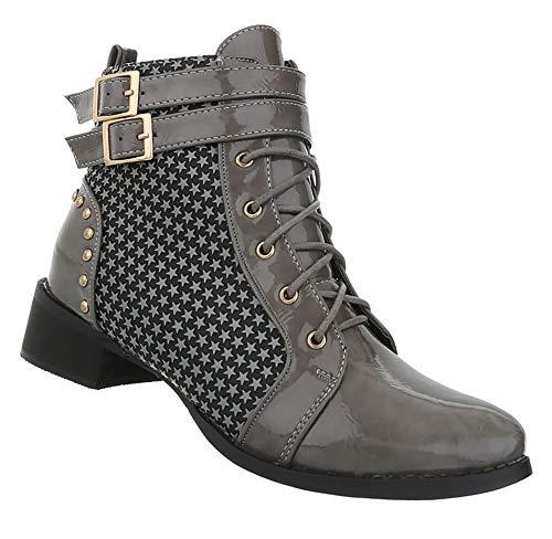 Schnürboots Stiefel 41 Schuhe Grau 36 Business Stiefeletten Elegante Damen Schnürstiefel YaO7qpZ