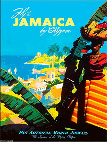A SLICE IN TIME Fly to Jamaica by Clipper Caribbean Pan American Airways Vintage Airline Travel Advertisement Wall Decor Poster Print. 10 x 13.5 inches ()