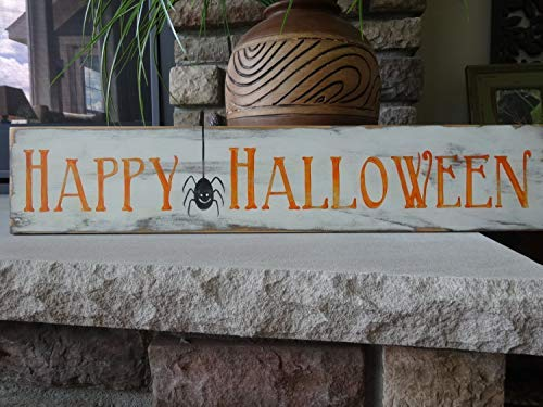 Iliogine Wooden Sign for Home Decor Happy Halloween Hand Printed Halloween Sign Halloween Decor October 31St Decor Happy Halloween Sign Craft for Bedroom Kithchen Gardern Desk -