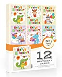 12 x Kids Animal Fun Birthday Card Pack by Olivia Samuel. Includes envelopes. Made in The UK