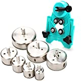 Hole Saw Set,7Pcs Diamond Drill Bits with Hole Saw Guide Jig Fixture, 1/1.2/1.6/2.4/2.8/3.15
