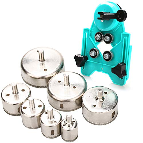 Hole Saw Set,7Pcs Diamond Drill Bits with Hole Saw Guide Jig Fixture, 1/1.2/1.6/2.4/2.8/3.15 inch Coated Core Drill Bits, Adjustable Hole Saw Centering Locator Suction Holder for Glass,Ceramics,Tile