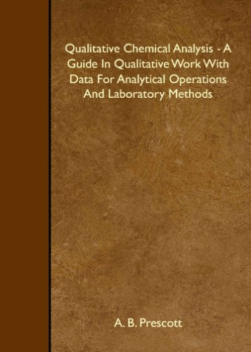 Qualitative Chemical Analysis - A Guide In Qualitative Work With Data For Analytical Operations And Laboratory Methods