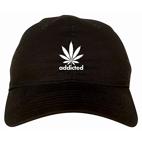 55b5ac81b95 Addicted Weed Leaf Marijuana 6 Panel Dad Hat Cap Black