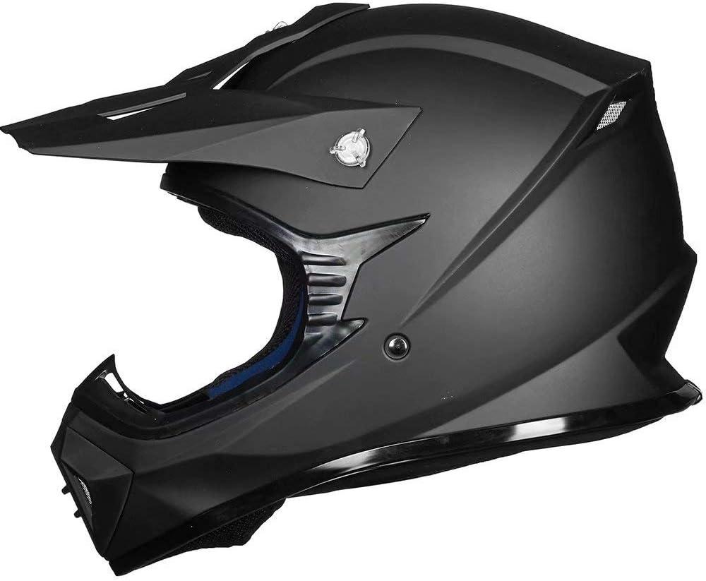 M, Matte Black ILM Off Road Motorcycle Dual Sport Helmet Full Face Sun Visor Dirt Bike ATV Motocross Casco DOT Certified