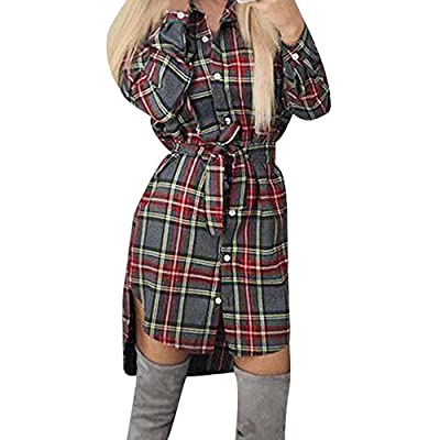 Outtop Women's Casual Plaid Print Long Sleeve Dresses
