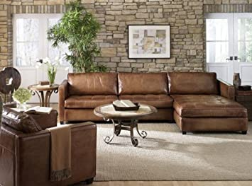 Amazon.com: Phoenix 100% Full Aniline Leather Sectional Sofa With Chaise  (Vintage Amaretto): Kitchen U0026 Dining