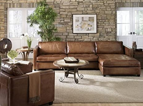 Phoenix 100% Full Aniline Leather Sectional Sofa with Chaise (Vintage Amaretto) : chaise leather sectional - Sectionals, Sofas & Couches