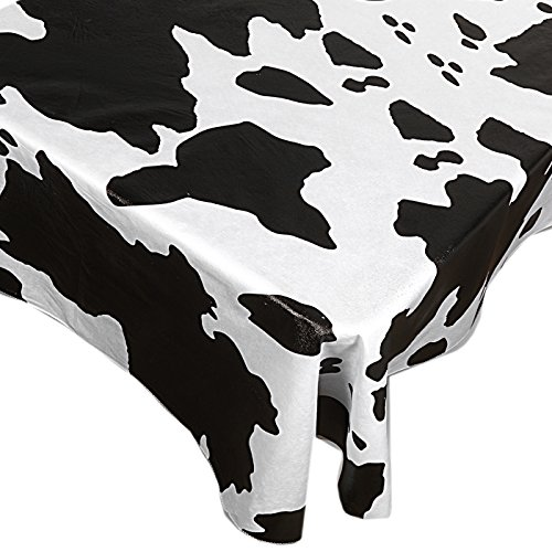 (Home Bargains Plus Moo Vinyl Flannel Backed Tablecloth, Black and White Novelty Cow Print Indoor/Outdoor Vinyl Tablecloth, 52 x 52)