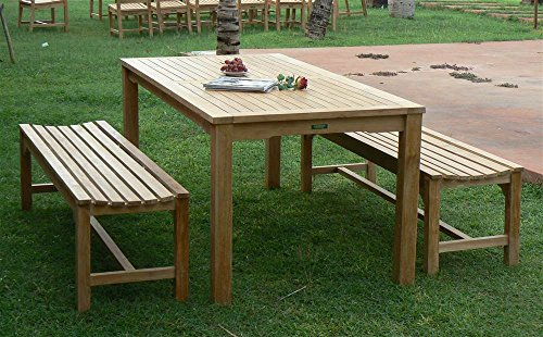 Table Dining Rectangular Teak Set (Anderson Teak Bahama Rectangular Dining Table with 3-Seat Backless Bench)