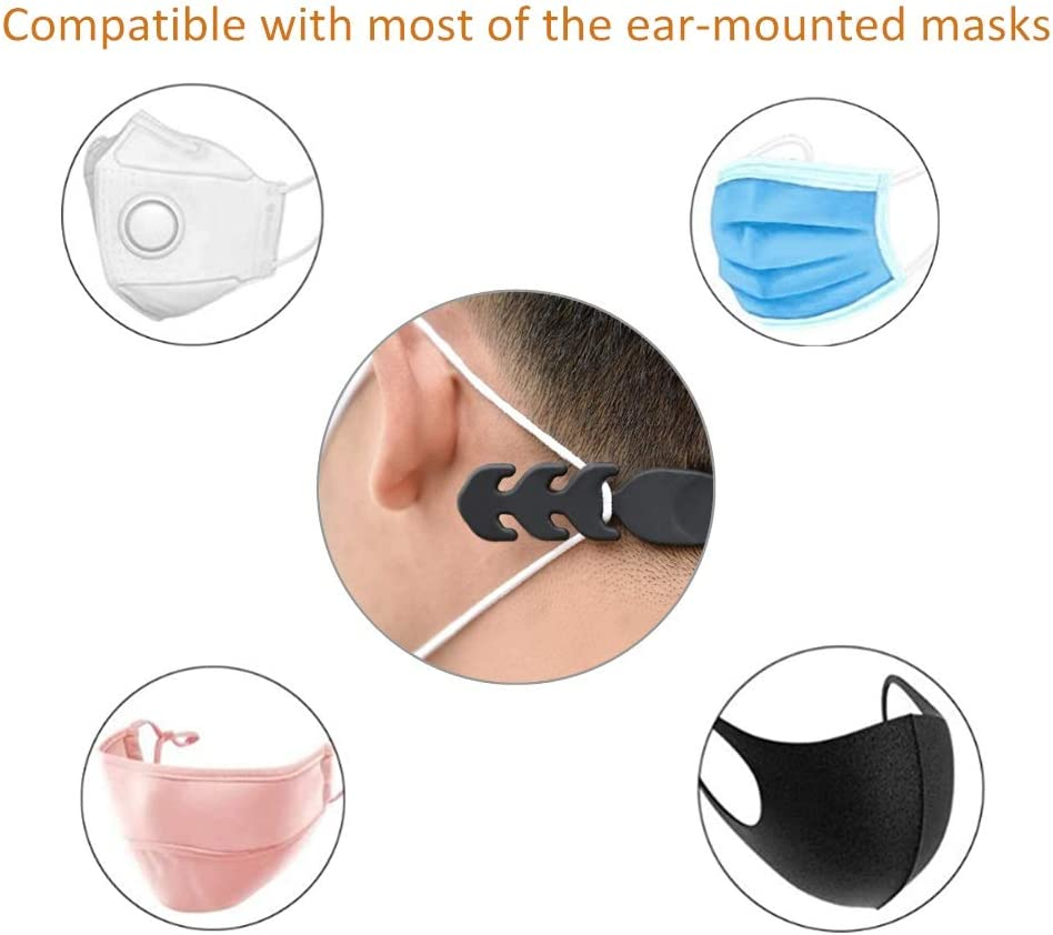 5PCS Anti-Tightening Ear Protector Decompression Holder Hook Ear Strap Accessories Adjustable Ear Cord Extension Face Mask Buckle for Ear Pain Relieved Braided Mask Extender Hooks Shipped from USA