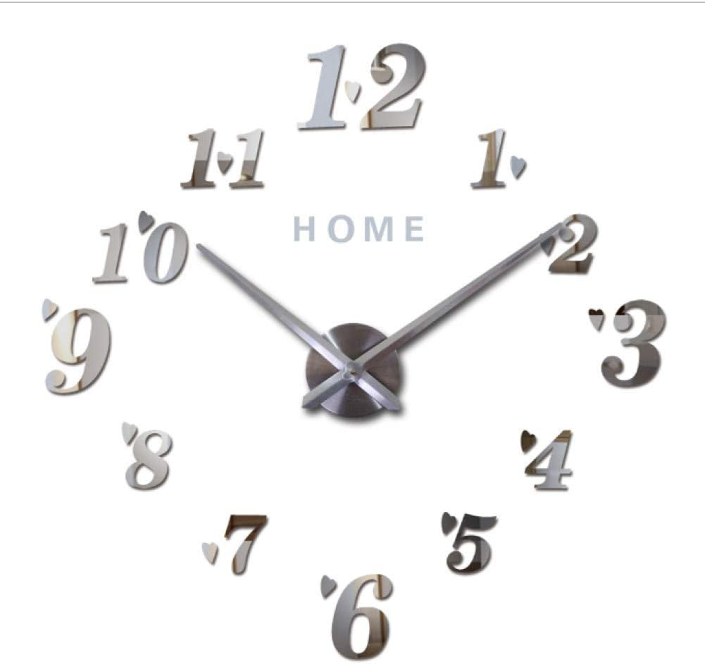 Mmlzlz 3d Digital Wall Clock Diy Modern Design Silent Acrylic Numbers Auto Wall Sticker Adhesive Sticker For Living Room Silver 37 Inches Home Kitchen
