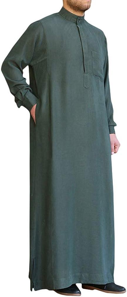 Hongxin Ethnische Kleidung Herren Muslim Robe Araber Naher Osten Kaftan Langarm Stehkragen Robe Lose Einfarbig Hemd Seite Split Roben mit Taschen