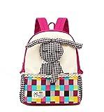 Moolecole Cartoon 3D Rabbit Doll Kids Kindergarten Backpack Canvas Toddler Girls Nursery School Bag Bookbag Rose Red