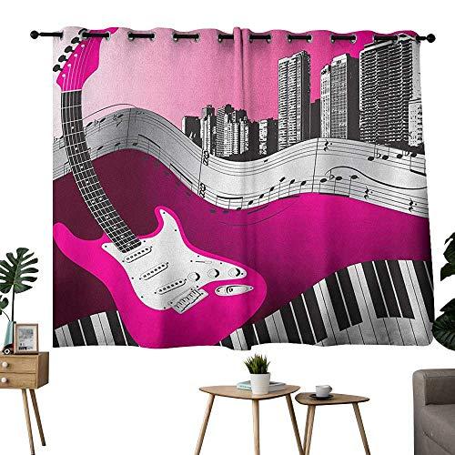 homecoco Music Grommet top Darkening Curtains Bass Guitar Keyboard Urban Rock Backdrop Rhythm of City Illustration Curtain Panels Hot Pink Pale Grey Black W72 x L45