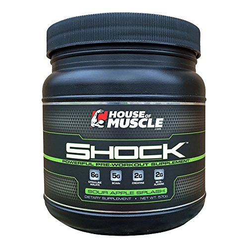 SHOCK - Fitness Training Pre-Workout Supplement for Men and Women - 6g Citrulline Malate, 5g BCAAs, 2g Creatine, 2g Beta-Alanine - Sour Apple Splash, 30 Servings