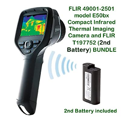 FLIR 49001-2501 model E50bx Compact Infrared Thermal Imaging Camera and FLIR T197752 (2nd Battery) BUNDLE, (240 x 180 IR Resolution) with on board Visual Camera, Wi-Fi, Picture-in-Picture, Thermal Fusion and Bright LED Light, Measures Temperature to 248°F
