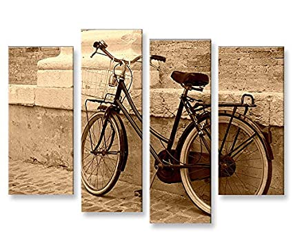 Quadro moderno Hollandrad Sepia Retro Antiguo bicicleta 4P ...