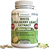 Pure White Mulberry Leaf Extract Premium 1000mg (No Fillers) Natural High & Low Blood Sugar Control & Weight Loss Support – Sugar Cravings & Crash Control (60 Veggie Capsules)