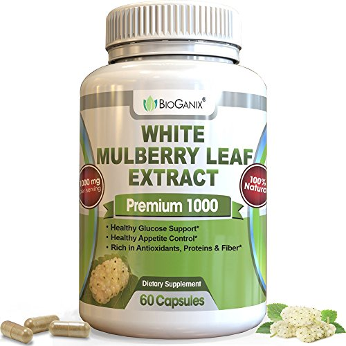 (Pure White Mulberry Leaf Extract - Non-GMO, US Made, Gluten Free | Blood Sugar Support Supplement | Premium 1000mg Natural Weight Loss Support - Sugar Cravings & Crash Control (60)