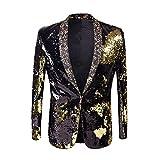 PYJTRL Men Stylish Two Color Conversion Shiny Sequins Blazer Suit Jacket (Black + Gold, L/42R)