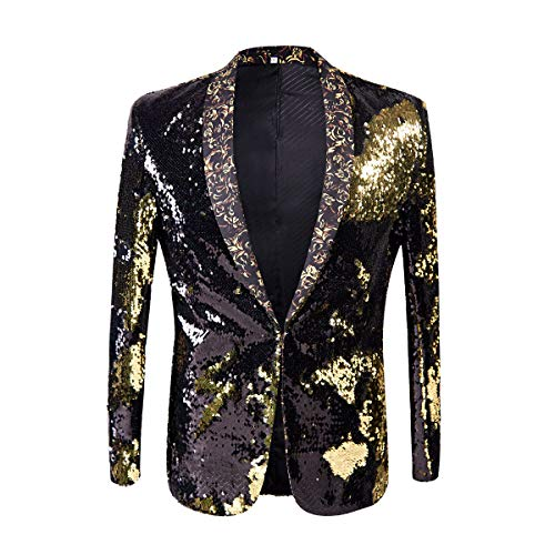 PYJTRL Men Stylish Two Color Conversion Shiny Sequins Blazer Suit Jacket (Black + Gold, XS/36R)