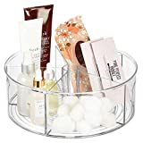 mDesign Deep Plastic Lazy Susan Turntable Storage Tray - Divided Spinning Organizer for Bathroom Vanity Countertop, Dressing Table, Makeup Station, Dresser - 5 Sections, 11.5' Round - Clear