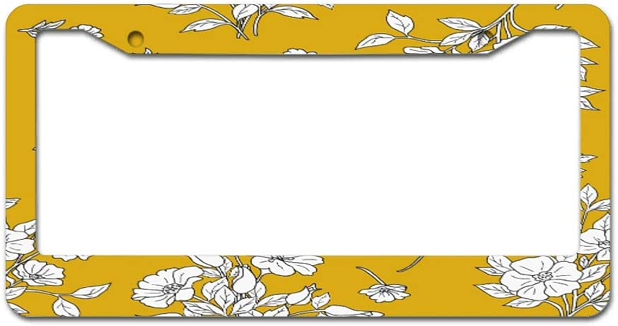 UAright Frame Plant Flowers Metal License Plate Frame Slim Standard Chrome Funny Sayings License Plate Frame for US and Canada Standard