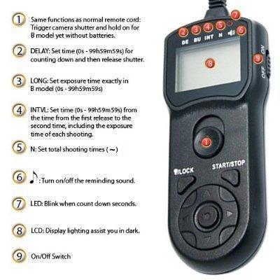 Rainbowimaging TMC LCD Timer Remote Control for Canon EOS 60D 1000D 700D 650D 600D 550D 500D 450D Rebel Series (Black)