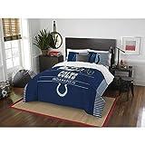 Indianapolis Colts Comforter Set Bedding Shams NFL 3 Piece Full-Queen Size 1 Comforter 2 Shams Football Linen Applique Bedroom Decor Sold By: MBG.4u