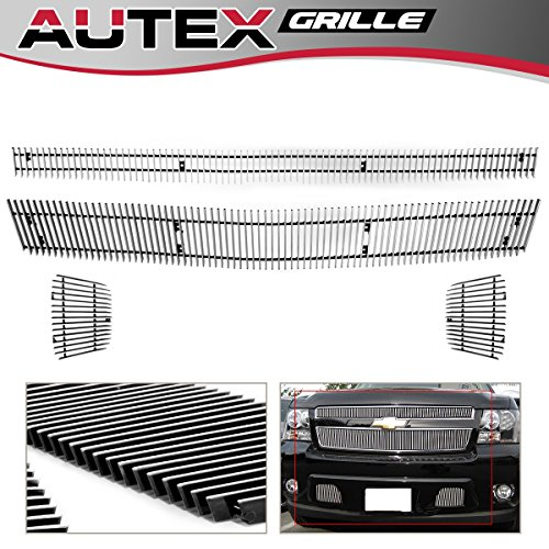 AUTEX Vertical Billet Grille Combo Insert Compatible with 2007-2014 Chevy Tahoe/Suburban/Avalanche Grill C67919V ()