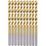 "20-piece 17//64/"" Round Shank HSS Titanium Coated Twist Drill Bits for Metal"